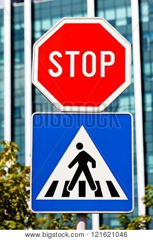 Stop And Pedestrian Signs