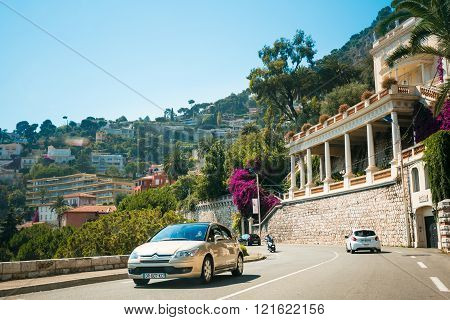 Traffic on in suburbs of village of Villefranche-Sur-Mer in Fran