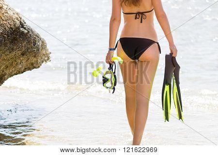 Young Woman In Bikini Going To Snorkelling In Sea