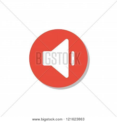 Volume Down Icon, On White Background, Red Circle Border, White Outline