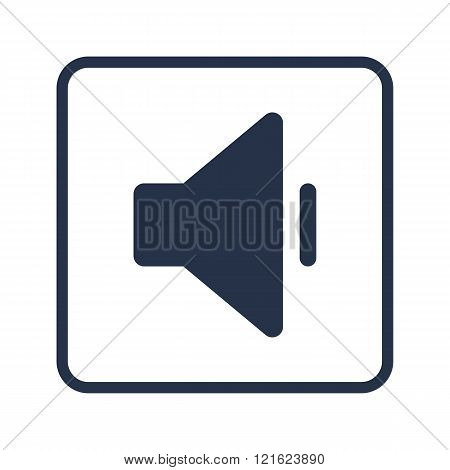 Volume Down Icon, On White Background, Rounded Rectangle Border, Blue Outline