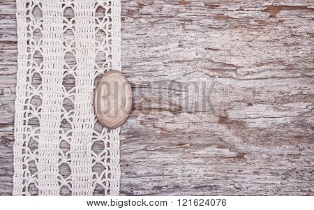 Vintage Background With Lace On The Old Wood