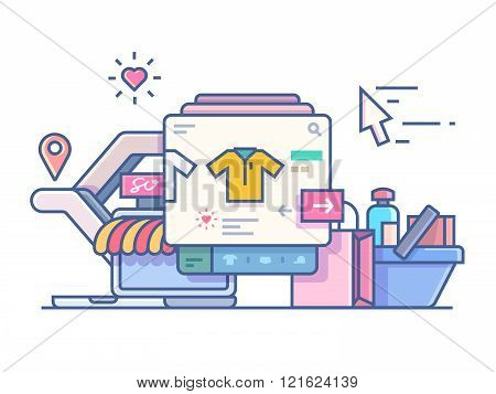 Shop online design flat