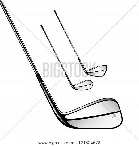 Golf Sticks Isolated On The White As Vector Design Elements.