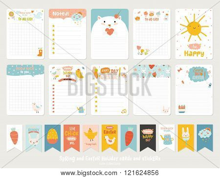 Cute Vector Cards, Notes, Stickers