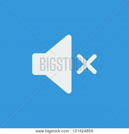 Volume Mute Icon, On Blue Background, White Outline, Large Size Symbol