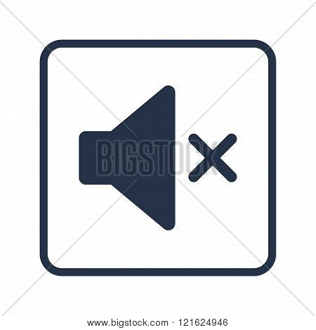 Volume Mute Icon, On White Background, Rounded Rectangle Border, Blue Outline