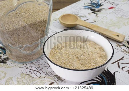 Raw Oat Bran On Cloth Background
