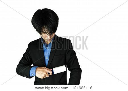 Young businessman cleaning their suit, with copy space, isolated on white background