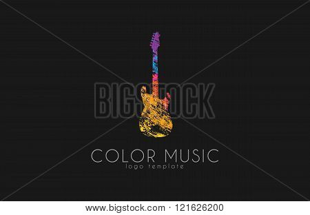 Guitar. Colorful logo. Rainbow guitar. music logo. Creative logo