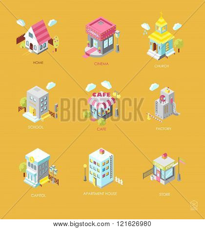 Set of Isometric Buildings. Black and white vector illustration with cinema cottage church school shop cafe town hall factory apartment house. Icons