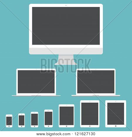 Mockup Gadget And Device Icons Set In The Style Flat Design On The Blue Background