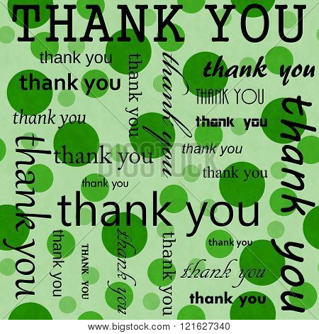 Thank You Design with Green Polka Dot Tile Pattern Repeat Background that is seamless and repeats