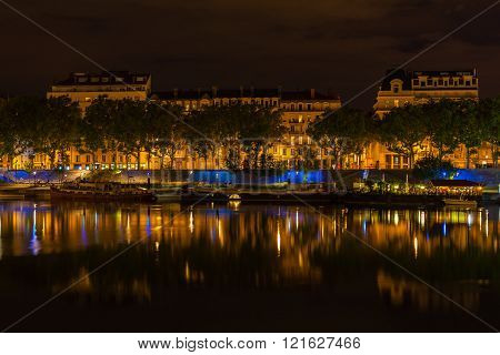 Cityscape Of Lyon, France At Night