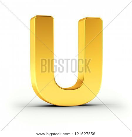 The Letter U as a polished golden object over white background with clipping path for quick and accurate isolation.