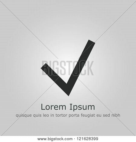 Accept Icon, On Grey Background, Dark Outline, Example Text