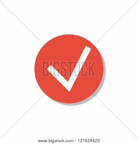 Accept Icon, On White Background, Red Circle Border, White Outline