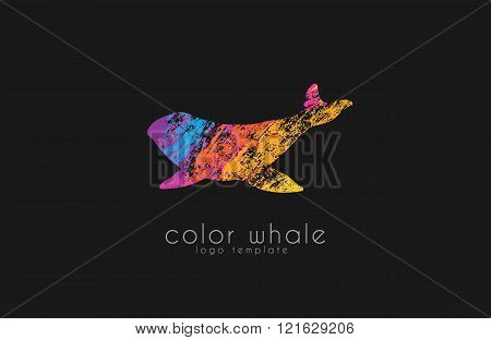 Whale logo. Creative logo. Sea logo. Water logo design. Ocean logo. Animal logo.