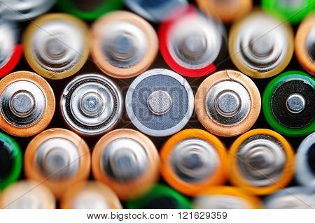 Several batteries are next to each other