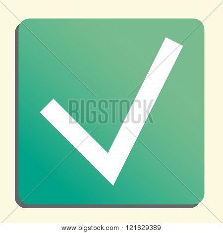 Accept Icon, On Button Style Green Background, Yellow Light, Shadow