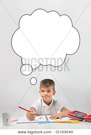 Child thinking about what to draw