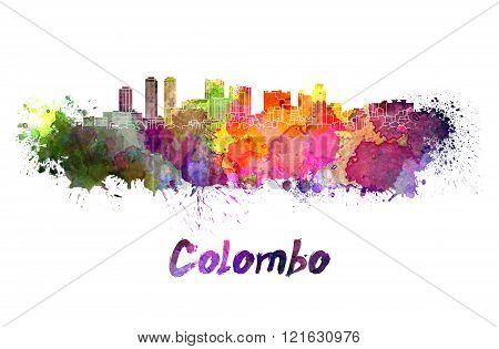 Colombo Skyline In Watercolor