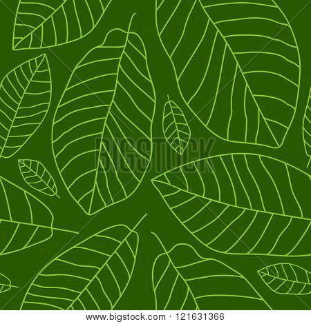 Seamless Pattern Of Banana Leaves