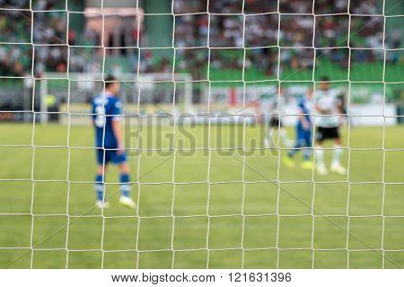 Football Net During A Football Mach. Focus On The Net