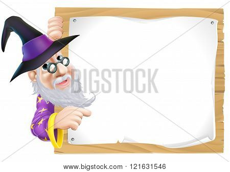 Wizard Pointing At Sign