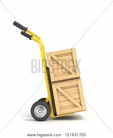 Wooden Boxes On A Hand Truck Isolated On White