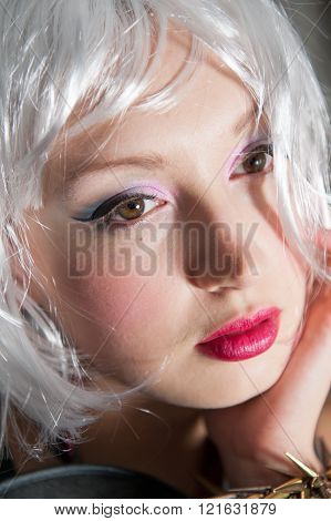 Girl with white bob style