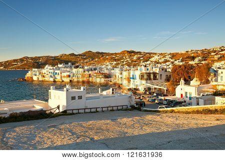MYKONOS, GREECE - MARCH 05, 2016: View of Little Venice in the town of Mykonos, Greece on March 05, 2016.