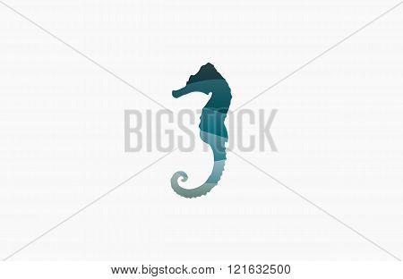 Seahorse logo. Sea logo. Water logo. Ocean logo. Beautiful logo. Wave logo design. Creative logo