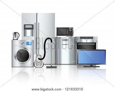 refrigerator, washing machine, vacuum cleaner isolated on white background