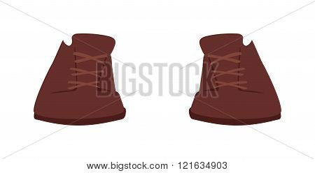 Brown boots cartoon vector illustration. Vector cartoon brown boots. Gray warm shoes footwear. Boots fashion shoe. Boots sport shoes.