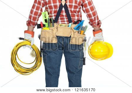 Handyman with construction tools and cable.