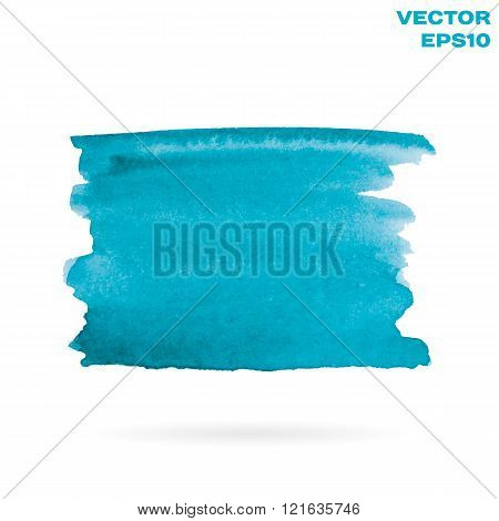 Turquoise watercolor hand painted shape design element. Bright abstract background for your text. Hi