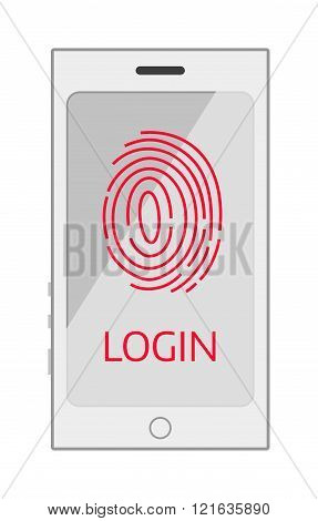 Finger screen finger vector illustration. Mobile phone screen isolated on white background. Finger access protection vector icon illustration. Finger access screen flat style silhouette