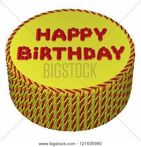 Round Cream Cake With Words Happy Birthday