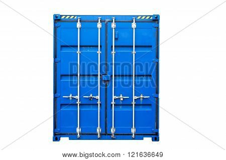 Blue transportation container isolated on white
