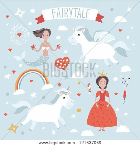 Illustration set  of fairytale characters