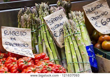 Green Asparagus On Mediterranean Market Stand, Bologna, Italy.