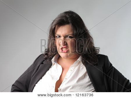 Businesswoman with angry expression