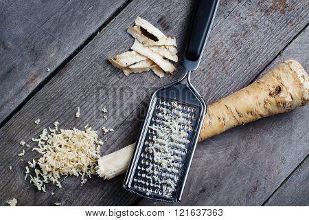 Raw horseradish root.