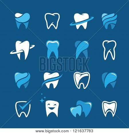 Teeth Icon Set On Blue Background