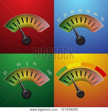 Progress Indicator With Percentage Vector Illustration Eps 10 Set