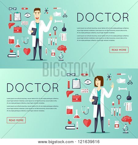 Doctor and medical icons set, cure, health, medicines, tablets character design. Flat vector web banners.