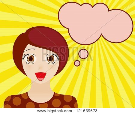 Happy woman face with open mouth. Manga style. Comic girl with speech bubble for your text. Brown ha