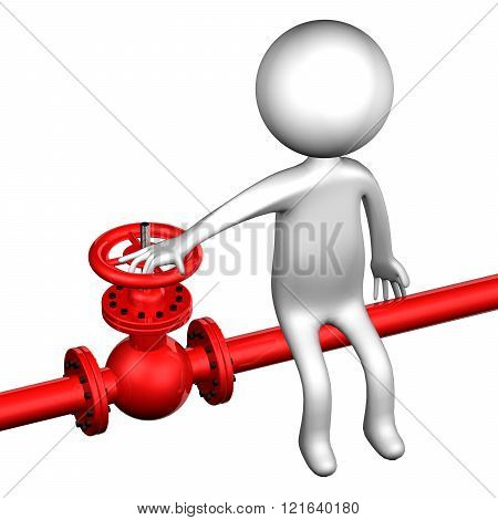3D Man With Pipeline With Valve