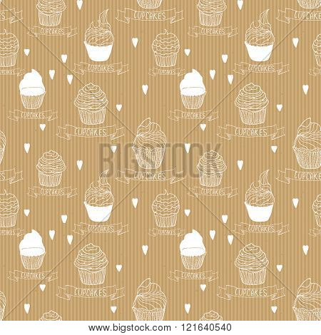 Seamless vector texture. Kraft paper with cupcakes. Ready design for wrapping paper, candy store, etc. Business background